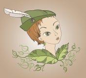 Κορίτσι με το καπέλο του Ρομπέν των Δασών απεικόνιση αποθεμάτων