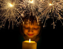 Κορίτσι με το κερί Στοκ φωτογραφία με δικαίωμα ελεύθερης χρήσης
