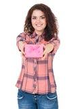 Κορίτσι με το κιβώτιο δώρων Στοκ εικόνες με δικαίωμα ελεύθερης χρήσης