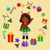 Κορίτσι με το κοστούμι Χριστουγέννων και το στρογγυλό πλαίσιο Στοκ Φωτογραφίες