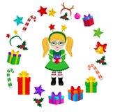 Κορίτσι με το κοστούμι Χριστουγέννων και το στρογγυλό πλαίσιο Στοκ Φωτογραφία