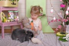 Κορίτσι με το κουνέλι Στοκ Εικόνες