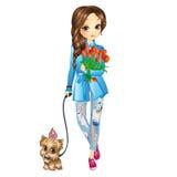 Κορίτσι με το κουτάβι και τα λουλούδια απεικόνιση αποθεμάτων