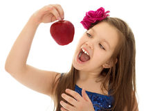 Κορίτσι με το κόκκινο μήλο Στοκ εικόνες με δικαίωμα ελεύθερης χρήσης