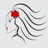 Κορίτσι με το κόκκινο λουλούδι Ελεύθερη απεικόνιση δικαιώματος