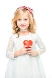 Κορίτσι με το κόκκινο σημάδι καρδιών Στοκ Εικόνες