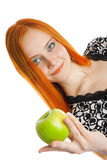 Κορίτσι με το μήλο Στοκ Φωτογραφία