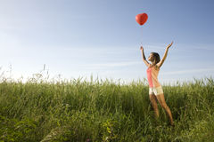 Κορίτσι με το μπαλόνι Στοκ φωτογραφίες με δικαίωμα ελεύθερης χρήσης