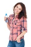 Κορίτσι με το μπουκάλι νερό Στοκ φωτογραφία με δικαίωμα ελεύθερης χρήσης