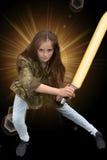 Κορίτσι με το ξίφος λέιζερ Στοκ φωτογραφίες με δικαίωμα ελεύθερης χρήσης
