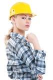 Κορίτσι με το σκληρό καπέλο Στοκ Εικόνες