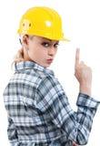 Κορίτσι με το σκληρό καπέλο Στοκ Φωτογραφία