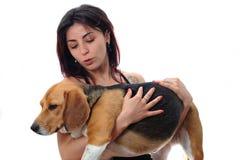 Κορίτσι με το σκυλί της Στοκ εικόνα με δικαίωμα ελεύθερης χρήσης