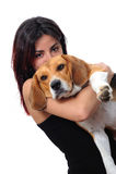 Κορίτσι με το σκυλί της Στοκ Φωτογραφίες
