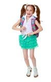Κορίτσι με το σχολικό χαρτοφυλάκιο Στοκ φωτογραφία με δικαίωμα ελεύθερης χρήσης