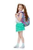 Κορίτσι με το σχολικό χαρτοφυλάκιο Στοκ Εικόνα