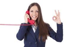 Κορίτσι με το τηλέφωνο Στοκ εικόνα με δικαίωμα ελεύθερης χρήσης