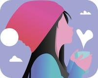 Κορίτσι με το φλυτζάνι του τσαγιού ελεύθερη απεικόνιση δικαιώματος