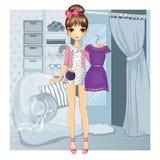 Κορίτσι με το φόρεμα κοντά στο δωμάτιο συναρμολογήσεων διανυσματική απεικόνιση