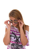 Κορίτσι με το χαμόγελο γυαλιών Στοκ φωτογραφία με δικαίωμα ελεύθερης χρήσης
