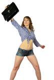 Κορίτσι με το χαρτοφύλακα στοκ εικόνα