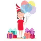 Κορίτσι με το baloon Στοκ Εικόνες