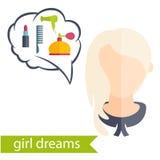 κορίτσι με το hairstyle και τα εικονίδια του διάφορου women Στοκ φωτογραφία με δικαίωμα ελεύθερης χρήσης