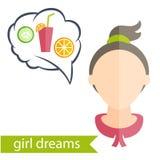 κορίτσι με το hairstyle και τα εικονίδια του διάφορου women Στοκ Εικόνες