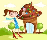 Κορίτσι με το yummy κώνο παγωτού απεικόνιση αποθεμάτων