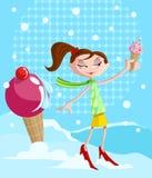 Κορίτσι με το yummy κώνο παγωτού ελεύθερη απεικόνιση δικαιώματος