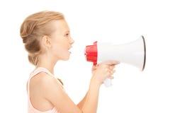 Κορίτσι με megaphone Στοκ φωτογραφία με δικαίωμα ελεύθερης χρήσης