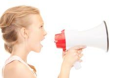 Κορίτσι με megaphone Στοκ Εικόνα