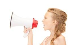 Κορίτσι με megaphone Στοκ εικόνες με δικαίωμα ελεύθερης χρήσης