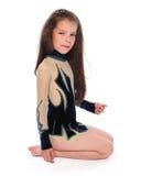 Κορίτσι μικρών παιδιών στο leotard που απομονώνεται Στοκ Εικόνες
