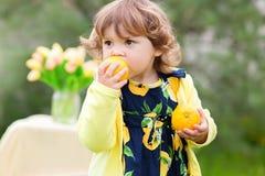 Κορίτσι μικρών παιδιών που τρώει τα λεμόνια Στοκ φωτογραφία με δικαίωμα ελεύθερης χρήσης