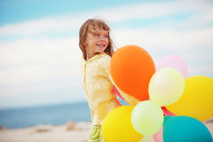 κορίτσι μπαλονιών λίγα Στοκ Εικόνες
