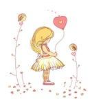 κορίτσι μπαλονιών λίγα Στοκ Εικόνα