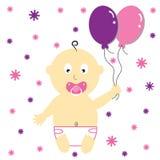 κορίτσι μπαλονιών μωρών απεικόνιση αποθεμάτων