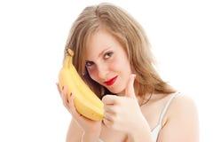 κορίτσι μπανανών Στοκ φωτογραφία με δικαίωμα ελεύθερης χρήσης