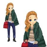 Κορίτσι μόδας στο πράσινο σακάκι ελεύθερη απεικόνιση δικαιώματος