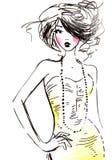 κορίτσι μόδας brunette διανυσματική απεικόνιση