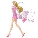 Κορίτσι μόδας άνοιξη διανυσματική απεικόνιση