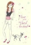 Κορίτσι μόδας με λίγο σκυλί Απεικόνιση αποθεμάτων