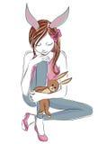 Κορίτσι μόδας με τα παιχνίδια λαγουδάκι Ελεύθερη απεικόνιση δικαιώματος