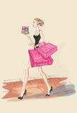 Κορίτσι μόδας με τα macarons Διανυσματική απεικόνιση