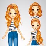 Κορίτσι μόδας σε Jesns και τη συλλογή Hairstyles απεικόνιση αποθεμάτων