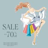 Κορίτσι μόδας στις άσπρες αγορές πώλησης φορεμάτων Απεικόνιση αποθεμάτων
