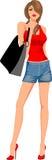 κορίτσι μόδας τσαντών Στοκ Εικόνες
