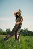 κορίτσι μόδας υπαίθρια Στοκ Φωτογραφία