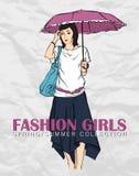 Κορίτσι μόδας Prety στο ύφος σκίτσων Στοκ Εικόνα